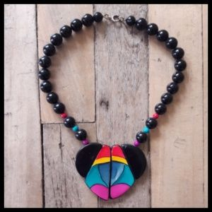 Awesome Vtg 80's bright color heart necklace!